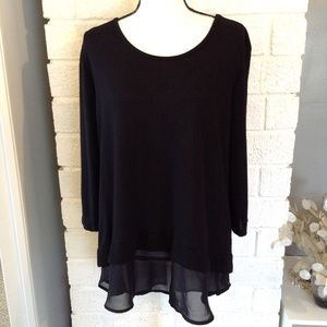 ❤️3/15  Metaphor Black Long Sleeve Chiffon Ruffle